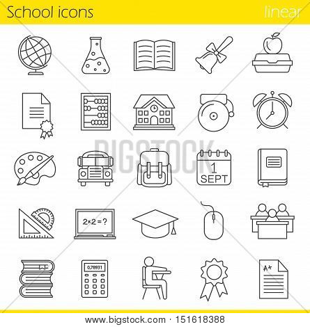 School linear icons set. Class register, calculator, pupils, school bus, bell and building. Textbook, abacus and rulers. Backpack, calendar and academic cap. Thin line. Isolated vector illustrations