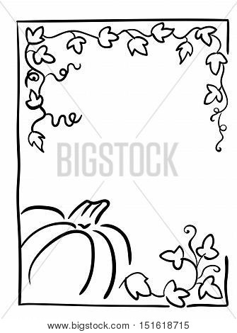 Pumpkin with tendrils and large lobed leaves. Halloween greeting or invitation card vertical template, hand drawn sketchy illustration. Black and white frame, isolated clip-art