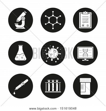 Science laboratory icons set. Microscope, molecular structure, tests checklist, beaker with liquid, virus, lab computer, pipette, test tubes and jar. Vector white illustrations in black circles