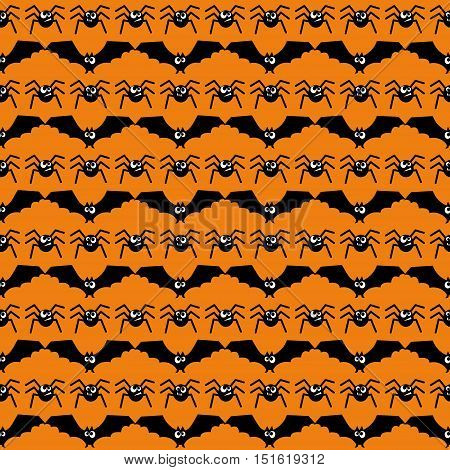 Bats and spiders Halloween pattern. Seamless halloween background. Happy Halloween concept illustration.