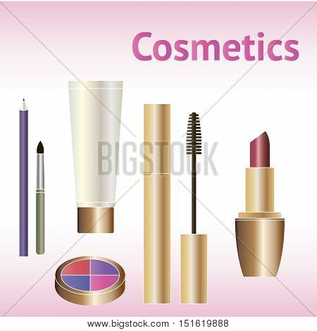 Decorative cosmetics products. Beauty cosmetics.Beauty makeup package. Makeup cosmetic set with place for text.