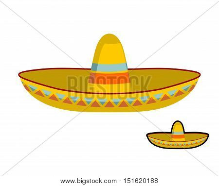 Sombrero isolated. Colorful Mexican hat ornament. National cap Mexico