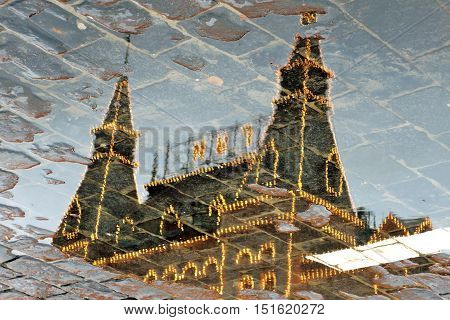 GUM shopping mall on the Red Square in Moscow. UNESCO World Heritage Site. Abstract water reflection.