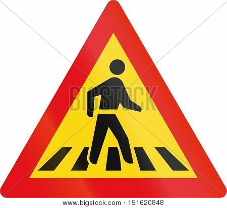 Temporary Road Sign Used In The African Country Of Botswana - Pedestrian Crossing Ahead