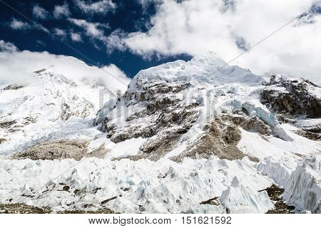 Melting Glacier in Everest Base Camp. Himalayas Khumbu glacier lake. Climate Change and Global Warming Ecology concept. Mountains Landscape with Rocky Footpath on the way to Mount Everest BaseCamp.