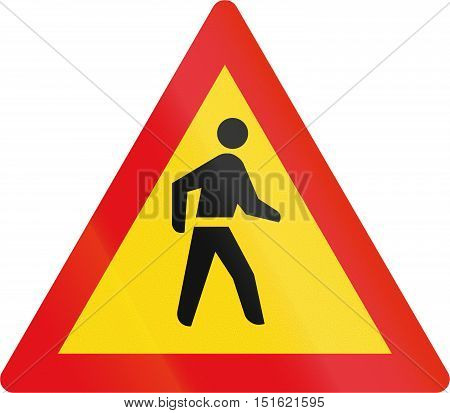 Temporary Road Sign Used In The African Country Of Botswana - Pedestrians