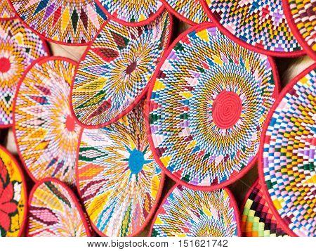 Traditional Ethiopian handmade Habesha baskets sold in Axum Ethiopia.