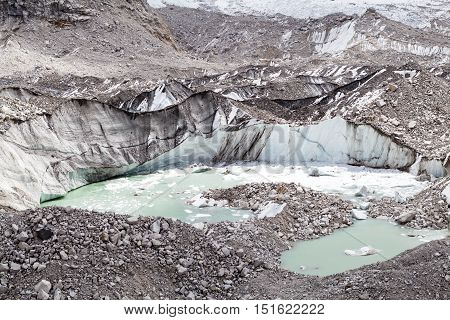 Himalayas Khumbu glacier lake. Melting ice on glaciers climate change and global warming ecology concept. Mountains rocky inspiring autumn landscape on the way to Mount Everest Base Camp in Nepal.