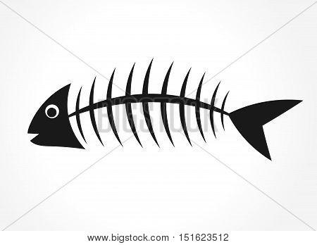 Fish bone black shape on white background illustration