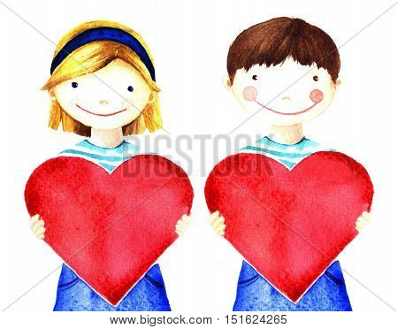 Little pretty beautiful smiling girl holding big red heart in his hands. Watercolor hand painted illustration isolated on white. Charity evening declaration of love. For banner card website poster