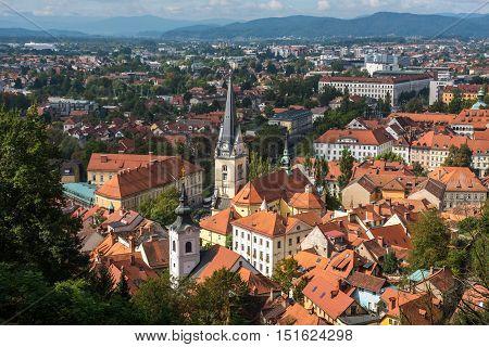 Panoramic Aerial View Of Ljualjana, The Capital Of Slovenia