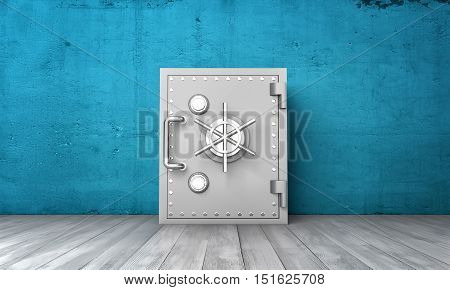 3d rendering of a closed safe box on a background of a blue wall and a grey wood floor. Valuable possessions. Savings protection. Place to keep money.