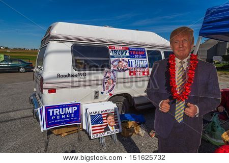 Ronks PA USA - October 11 2016: Donald Trump Cut Out on display at a vendor's stand along busy Route 30 in Lancaster County.