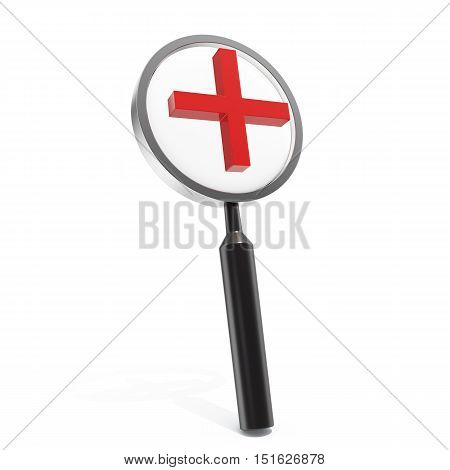 3d illustration magnifying glass isolated on white background
