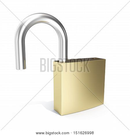 3d illustration padlock icon, open lock security icon isolated on white