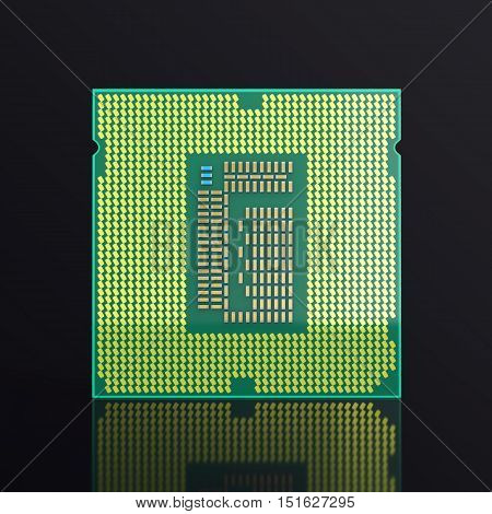 3d illustration computer PC CPU chip electronics industry concept, close-up view