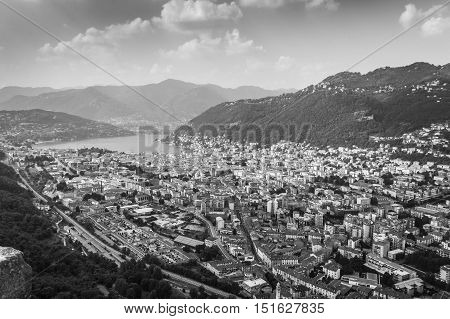 view of Lake Como photographed from the park of the castle baradello