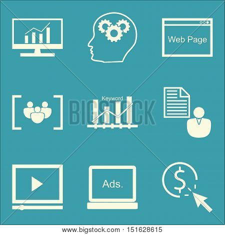 Set Of Seo, Marketing And Advertising Icons On Client Brief, Comprehensive Analytics, Web Page And M