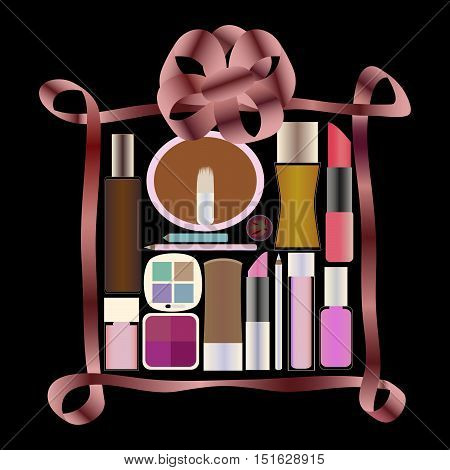 Gift with Perfumery and Cosmetics on black backgound