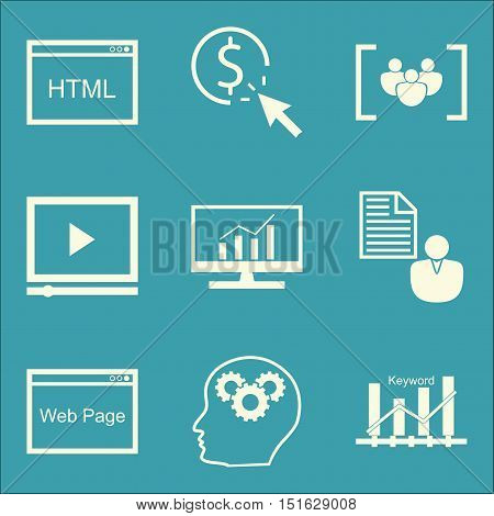 Set Of Seo, Marketing And Advertising Icons On Web Page, Video Advertising, Html Code And More. Prem