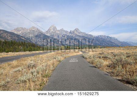 The bike path that runs through the Grand Teton National Park