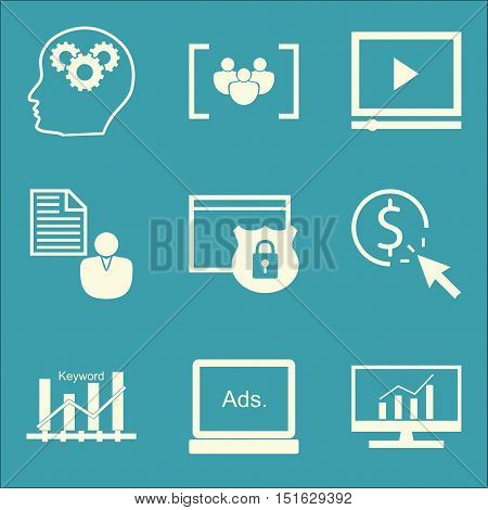 Set Of Seo, Marketing And Advertising Icons On Client Brief, Creativity, Website Protection And More