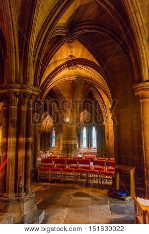 EDINBURGH, SCOTLAND--AUGUST 20, 2016--A view of the interior of Glascow Cathedral.Today it  is part of the Church of Scotland's Presbytery of Glasgow.