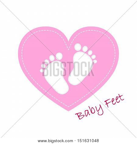 Pink baby footprints in the center on blue heart. Baby footprints as a symbol of pregnancy or childbirth. Vector illustration.