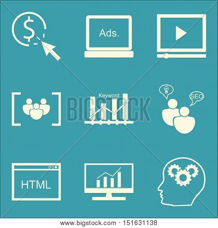 Set Of Seo, Marketing And Advertising Icons On Seo Consulting, Focus Group, Html Code And More. Prem