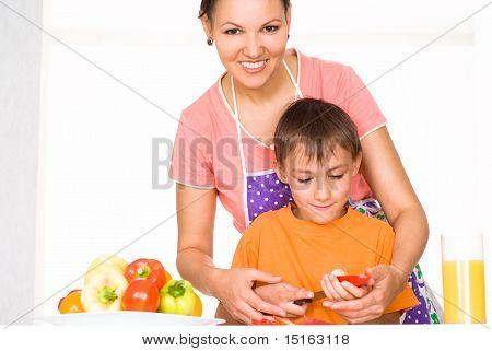 Nice Mom And Son Prepares