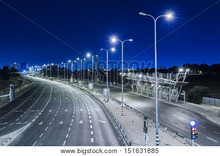 Empty freeway at night - Blue Color Toned