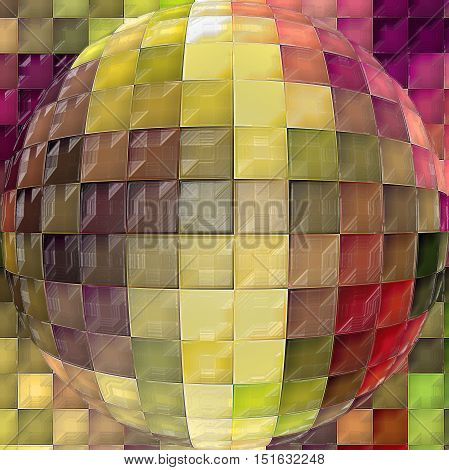 Abstract coloring background of the horizon gradient with visual mosaic, cubism,spherize and plastic wrap effects