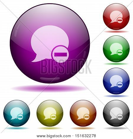 Set of color Delete blog comment glass sphere buttons with shadows.
