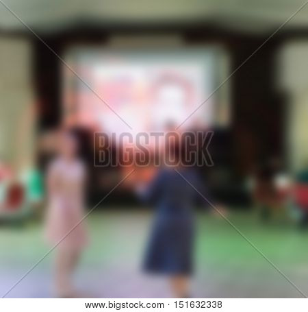 Restaurant celebration business event theme creative abstract blur background with bokeh effect
