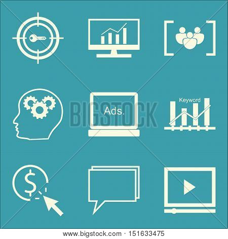 Set Of Seo, Marketing And Advertising Icons On Video Advertising, Display Advertising, Target Keywor