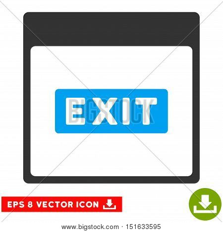 Exit Caption Calendar Page icon. Vector EPS illustration style is flat iconic bicolor symbol, blue and gray colors.