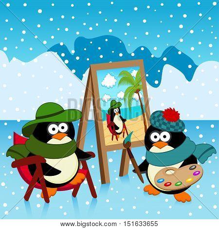 penguin artist dreamer - vector illustration, eps
