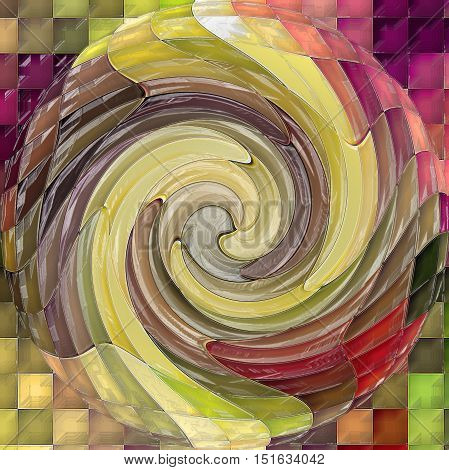 Abstract coloring background of the horizon gradient with visual mosaic, cubism, spherize,twirl and plastic wrap effects