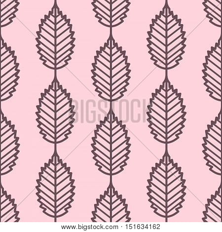 Elm leaves outline seamless vector pattern. Vintage style and colors (light red-purple). Wrapping paper design.