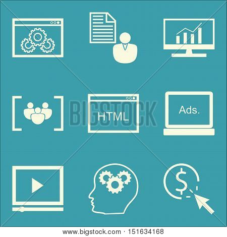Set Of Seo, Marketing And Advertising Icons On Client Brief, Pay Per Click, Creativity And More. Pre