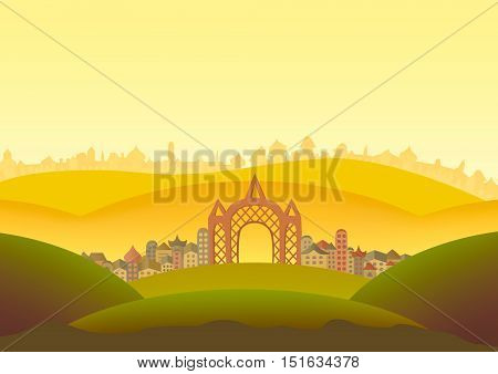 Panorama landscape illustration. Panorama with field, hills, castles and houses illustration.