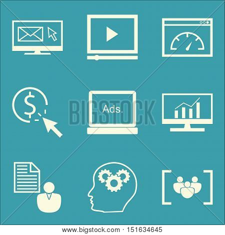 Set Of Seo, Marketing And Advertising Icons On Page Speed, Pay Per Click, Client Brief And More. Pre