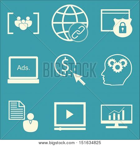 Set Of Seo, Marketing And Advertising Icons On Website Protection, Client Brief, Pay Per Click And M