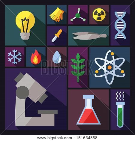 Science vector background with sectors. Chemistry Physics and Biology. Modern flat design.