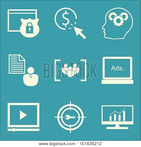Set Of Seo, Marketing And Advertising Icons On Client Brief, Target Keywords, Comprehensive Analytic