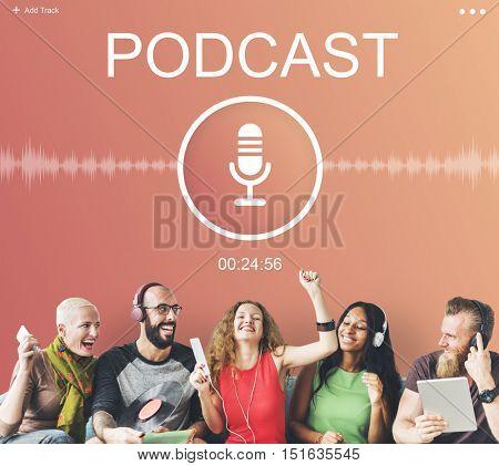 Microphone Audio Podcast Broadcast Media Graphic Concept