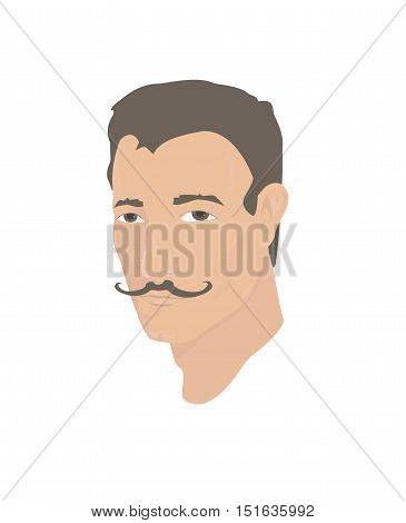 Portrait of a young handsome man with bronze skin and vintage mustache.Vector illustration