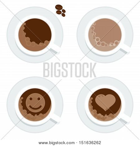 Set of white cups of coffee, cappuccino and espresso. Froth in the form of heart, smile. Flat vetor cartoon coffee illustration. Objects isolated on a white background.