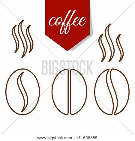 Set of fragrant brown lines coffee beans. Flat cartoon coffee beans llustration. Objects isolated on a white background.