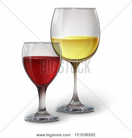 Wine glasses with white and red wine, cocktails, rum, or brandy. Realistic vector image